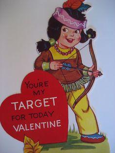 Vintage Valentine Card Native American