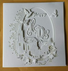 Wedding card made using Tattered  lace  melded  church  die