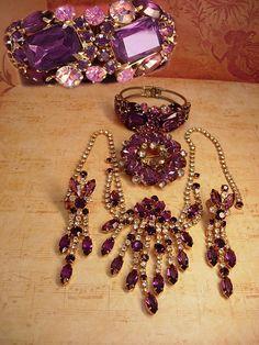 Dripping In purple Vintage Juliana necklace earrings brooch and bracelet Amethyst glass shoulder dusters via Etsy