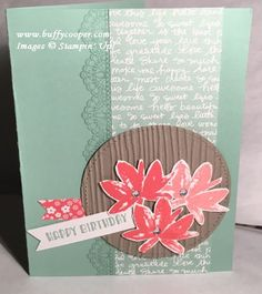 Avant Garden Birthday My card today was inspired by several people/posts. I used an idea from Liz's swap, an idea from Sandy's blog today, and an idea from the Sale-a-bration brochure t…
