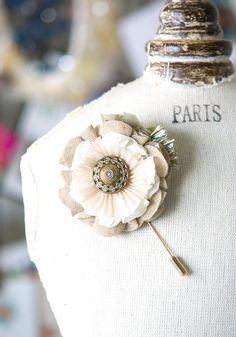 Rustic Boutonniere - Fabric Flower Lapel Pin with Vintage Button