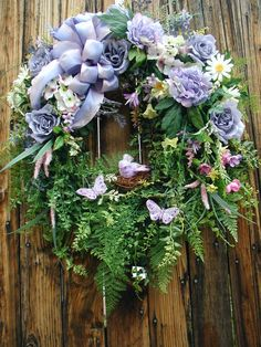 Spring Summer Purple Lavender Dew Drop Roses Bird