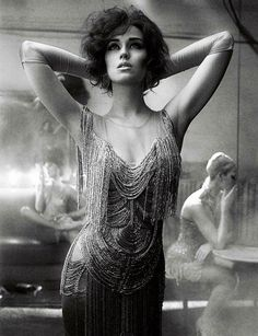 1920s style beaded + fringe dress Interview Magazine // Mikael Jansson