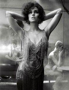 1920s style beaded + fringe dress  Interview Magazine // Mikael Jansson