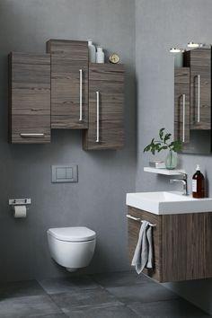 Oppbevaring i høyden: Har du et lite bad kan det være smart å utnytte plassen over toalettet til å få mer skapplass og oppbevaring på badet. Baderomsinnredningen er fra Dansani. Les mer om smart oppbevaring på badet på bademiljo.no! #baderom #oppbevaring #sideskap Washer And Dryer, Toilet, Vanity, Bathroom, Home, Decor Ideas, Tips, Sheer Curtains, Dressing Tables