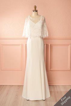 White two-piece sheer lace top mermaid bridal dress - Robe de mariée sirène blanche deux pièces à haut de dentelle transparent