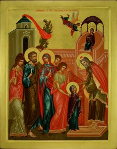 Entrance of Our Lady into The Temple Blessed Virgin Mary, Orthodox Icons, Religious Art, Our Lady, Madonna, Style Icons, Catholic, Entrance, Cathedral