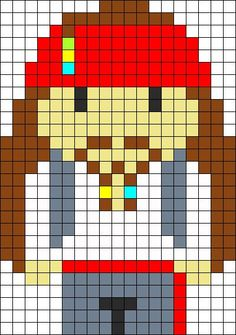 Jack Sparrow perler bead pattern 9 black, 1 light green, 2 yellow, 2 light blue, 68 grey, 86 red, 78 tan, 78 white, 95 brown