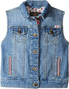 b3ac7006d Lucky Brand Kids Denim Vest w/ Embroidery (Toddler) (Monterey Wash) Girl's  Vest