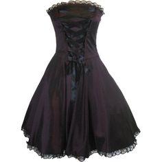 Fashion Bug Plus Size Gothic Rockabilly Purple Satin Corset Lace-up Dress www.fashionbug.us #PlusSize #FashionBug
