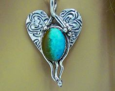 """Item 6067-""""Heart's Treasure"""" Handcrafted, sculpted & carved PMC Fine Silver…"""
