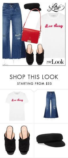 """""""Love Society"""" by arethaman ❤ liked on Polyvore featuring Ganni, 3x1, H&M, Isabel Marant, Off-White, jeans, WhatToWear, Tshirt, mules and outfitformula"""