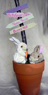Make Something Daily: Easter Bunny Flower Pot with Direction Signs