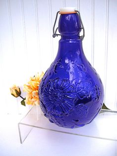 Vintage Daisy Embossed Cobalt Blue Wine Bottle by jpcountrymarket, $21.00