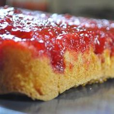 Fresh Strawberry Upside Down Cake --tip in comments: thinly slice fresh strawberries with some sugar to release juice (needed for when you add the gelatin). Someone also said they tried it in a bundt pan.