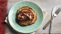 Banana pancakes with streaky bacon