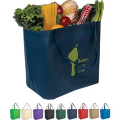 "Big Value Tote Bag #A852 Transport your advertising to another level when you imprint your custom logo on this classic tote. Six color options from which to choose promotes high logo visibility. Made from non-woven polypropylene with 8"" gusset they are an Eco-friendly way to promote your company. This handy promotional product would be perfect for tradeshows or as a travel bag. 21"" handles. Recyclable. Measures 12""W x 13""H x 8""D"