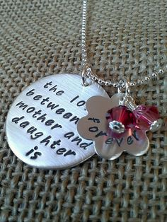 Silver Hand Stamped Love Between Mother by StampedEvermore on Etsy,