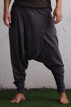 Low drop crotch ninja pants / baggy harem pants organic cotton