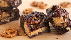 Please both peanut butter and chocolate lovers with this easy, salty-sweet brownie recipe. - We weren't impressed with these brownies as the pretzels were soft and mushy. Not what we were expecting.