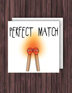 Excited to share the latest addition to my #etsy shop: Perfect Match - Funny Wedding Card - Pun Engagement Card - Anniversary Card - Valentines Card http://etsy.me/2o1zuby #papergoods #wedding #pun #anniversary #love #engagement #couple #civilceremony #married