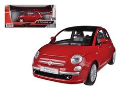 Fiat 500 Nuova Red 1/24 Diecast Car Model by Motormax - Brand new 1:24 scale diecast model car of Fiat 500 Nuova Red die cast car model by Motormax. Brand new box. Rubber tires. Detailed interior, exterior. Has opening hood and doors. Made of diecast with some plastic parts. Dimensions approximately L-6, W-3, H-3 inches. Please note that manufacturer may change packing box at anytime. Product will stay exactly the same.-Weight: 2. Height: 6. Width: 11. Box Weight: 2. Box Width: 11. Box…