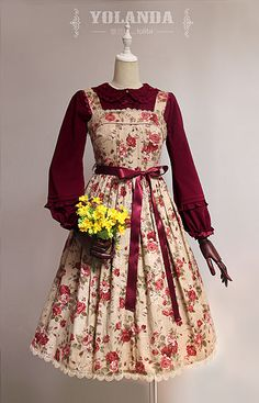 Four Colors Camellias Dark Bands Lolita Dress