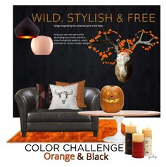 """""""Color Challenge: Orange and Black"""" by eyesondesign ❤ liked on Polyvore featuring interior, interiors, interior design, home, home decor, interior decorating, Linie Design, Dot & Bo, interiordesign and orangeandblack"""