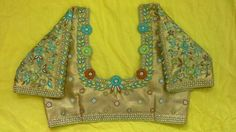 Gold blouse with thread and stone work and hands with all over work  91 9866583602