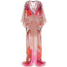 Roberto Cavalli Printed Silk Maxi Dress ($1,870) ❤ liked on Polyvore featuring dresses, multicoloured, multi-color dresses, roberto cavalli, multi color maxi dress, roberto cavalli dresses and multi print dress