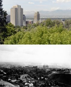 Above is a view of downtown Salt Lake City on May 20, 2014 and below is a similar view from May 13, 1908.