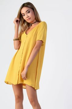 **Button Front T-Shirt Dress by Glamorous