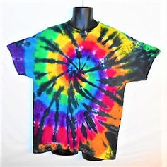 Trippy Tie Dye T Shirt// XL tiedye// Rainbow with black// Rave clothing// Festival wear// Gay Pride// Tie Dyed tee shirt// Extra Large// by FarmFreshTieDyeStore on Etsy