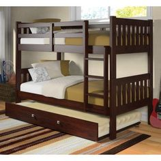 Donco Twin over Twin Bunk Bed - Dark Cappuccino - DOT117-3
