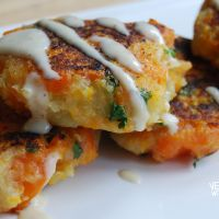 Carrot and Coriander Fritters With Tahini Dressing | veghotpot
