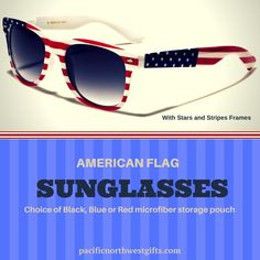 78011e25464 American Flag Sunglasses with Stars and Stripes Frames