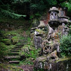 Ruins with steps; castle ruin is in the Basque Country of Spain.