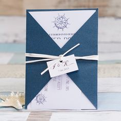 nautical themed navy blue pocket wedding invitations EWPI183