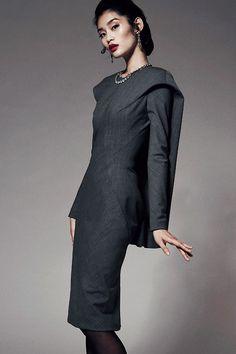 Gray Dress: Ming Xi for Zac Posen Prefall 2014 collection