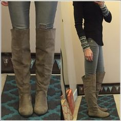 """Over the knee boots Women's size 8, """"suede"""" otk boots. Pull on style, but they do have a zipper on the ankle (facing inward) to make it easier to take off and put on. Elastic area behind the knee for flexibility. These don't slouch or fall down. good condition. The color is grey, but I'd say it's a mix of tan and grey. Shoes Over the Knee Boots"""