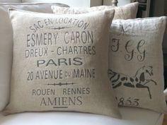 vintage grain sack pillow | Vintage Linen Esmery Caron Grain Sack Pillow by AtelierBe on Etsy