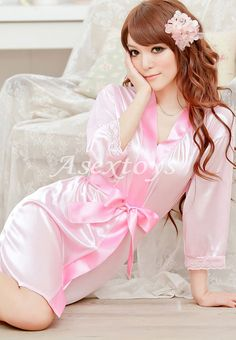 Slips Flesh Ice Silk Belt+Dress+T-string Sleepwear Set M Women Sexy Lingerie 8cb035f64