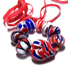 Red White And Blues Lampwork Beads Set | Gerryann - Jewelry on ArtFire
