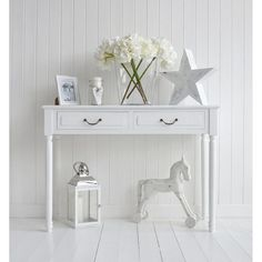 Console tables for hall and living room furniture in grey, white and cream. Console tables for hall and living room furniture in grey, white and cream. The Provence white console table for decorating white cottage halls hallwa. Small Hallway Table, Hallway Table Decor, Small Console Tables, White Console Table, Hallway Console, Entrance Table, House Entrance, Hall Furniture, Cottage Furniture