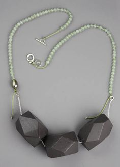 """Sarah Hood Steno Necklace #1 Wood, sterling silver, silk cord, jade beads, pearl, and epoxy paint. Approx 28"""" long. $624"""