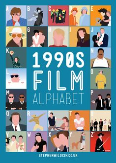 Recently we posted the Film Alphabet from designer Stephen Wildish that tested your movie knowledge. Now he has created a Film Alphabet designed to quiz your familia… Cool Runnings, 1990s Movies, Abc Movies, Famous Movies, Iconic Movies, Action Movies, Cinema Tv, Illustrator, Wayne's World