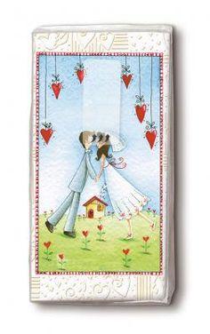 bedruckte Taschentücher küssendes Brautpaar im Rahmen der Herzen - Servietten Versand Tischdeko Kerzen OnlineShop