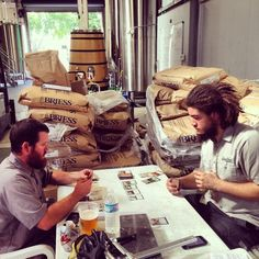 Brewers playing Magic after a hard day at work photo courtesy of www.greenbenchbrewing.com #beer #geeks #beergeeks