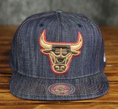 Chicago Bulls Mitchell   Ness Dark Denim Custom Snapback Hat 9e8313e7a97