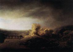rembrandt landscape paintings | Landscape with a Long Arched Bridge